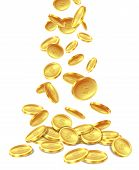 Gold Coins Pile. Golden Coin Money Heap Cash Wealth, Flying Metal Dollars Treasure Piles. Casino Jac poster