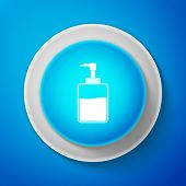 Hand Sanitizer Bottle Icon Isolated On Blue Background. Disinfection Concept. Washing Gel. Alcohol B poster