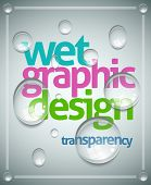 Vector wet poster template. Transparent water drops, text and background are separated layers. Easy