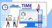 Time Management Banner With Character. Isolated Schedule Concept Or Planner. Planning Sticker, Manag poster