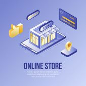 Digital Isometric Design Concept Scene Of Online Store App 3d Icons.business Finance Symbols-isometr poster