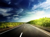 foto of road trip  - road in Russian mountains - JPG