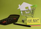 House Put In A Shopping Cart And Coin, Calculator On The Desk. Savings For Home, Buying Houses, Sell poster
