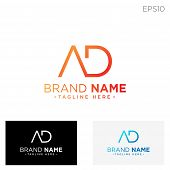 Monogram Initial Ad, Ad, Ad Logo Template Black Color Vector Illustration poster