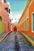 stock photo of san juan puerto rico  - Colorful Old San Juan streets Puerto Rico - JPG