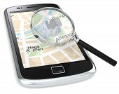 pic of track home  - Black Smartphone with a GPS map with a 3D house and a Magnifying Glass - JPG