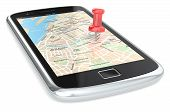 stock photo of gps navigation  - Black Smartphone with a GPS map - JPG