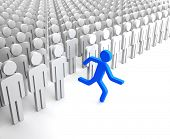 foto of disobedient  - Blue Human Figure Running from the Crowd of Gray Indifferent Humans - JPG