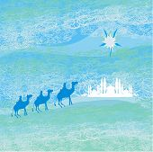 image of desert christmas  - Classic three magic scene and shining star of Bethlehem vector illustration - JPG