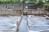 stock photo of groundwater  - Tanks for oxygen aeration in wastewater treatment plant - JPG