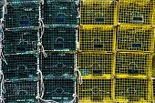 picture of lobster trap  - Sixteen Green and Yellow Stacked Lobster Traps - JPG
