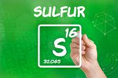 Hand drawing the symbol for the chemical element sulfur