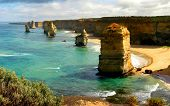stock photo of 12 apostles  - The Twelve Apostles on the Coast of Victoria are one of Australia - JPG