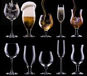 picture of scotch  - alcohol drinks set isolated on a black background  - JPG