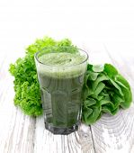 foto of basil leaves  - Healthy green vegetable juice on wooden table - JPG