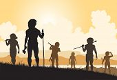 foto of caveman  - Illustrated silhouettes of cavemen hunters on patrol - JPG