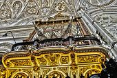 stock photo of pipe organ  - Stunning pipe organ one of many musical instruments decorate the Cathedral of Cordoba Spain - JPG