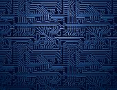 stock photo of processor  - Vector dark blue circuit board computer background - JPG