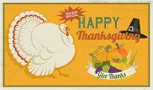 Thanksgiving Poster, with white turkey, pilgrim hat and autumn abundance, including pumpkins, grapes