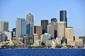 stock photo of washington skyline  - Seattle Downtown  - JPG