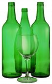 pic of loamy  - bottle from green glass and wineglass on white - JPG