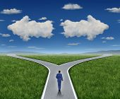 image of three-dimensional  - Business guidance questions and career path as a business person walking to a crossroad highway with two clouds shaped as arrows pointing in opposite directions on a blue summer sky and grass representing financial advice guide and looking for answers - JPG