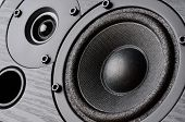 stock photo of speaker  - Multimedia speaker system with different speakers closeup over black background - JPG