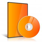 stock photo of grayscale  - Orange Realistic Case for DVD Or CD Disk with DVD Or CD Disk - JPG