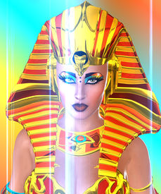 stock photo of nefertiti  - Close up face shot of 3d Egyptian woman Pharaoh on abstract background - JPG