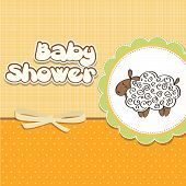stock photo of baby sheep  - cute baby shower card with sheep - JPG