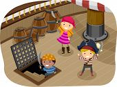 stock photo of rapier  - Illustration of Kids Dressed in Pirate Gear Playing on the Ship Deck - JPG