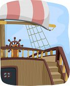 image of ship steering wheel  - Illustration Featuring the Steering Wheel of a Pirate Ship - JPG