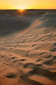 pic of tozeur  - Sunset at sand dunes of Sahara desert near Ong Jemel in Tozeur - JPG