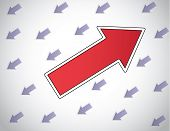 stock photo of follow-up  - colorful red arrow moving up opposite direction to other arrows - JPG