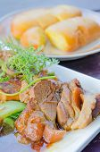 stock photo of pork belly  - close up braised pork belly chinese style cuisine