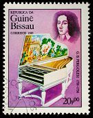 GUINEA CIRCA 1985: A stamp printed by Guinea, shows musician and composer Pergolesi (Pergolese), cir