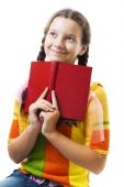 Happy Young Girl With Red Book Smile