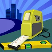 stock photo of tape-measure  - Illustration of a measuring tape placed  and back of building plan - JPG