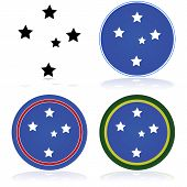 picture of southern  - Icon set showing a stylized version of the Southern Cross constellation - JPG