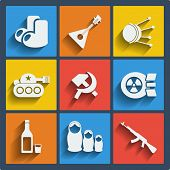 stock photo of hammer sickle  - Set of 9 vector russia web and mobile icons in flat design - JPG