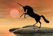 picture of stomp  - A fantastic unicorn silhouetted against the setting sun - JPG