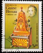 GUINEA CIRCA 1985: A stamp printed by Guinea, shows musician and composer Schumann, circa 1985