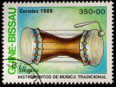 GUINEA - CIRCA 1989: A stamp printed in GUINEA shows drum, circa 1989