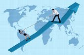 picture of fail-safe  - Businessman helping businesswoman climbing an upward line chart - JPG