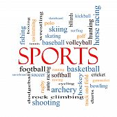 foto of great horse  - Sports Word Cloud Concept with great terms such as football baseball basketball and more - JPG