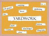 Yardwork Corkboard Word Concept poster