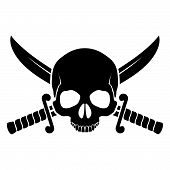 stock photo of saber  - Skull with crossed sabers - JPG