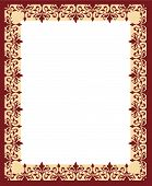 stock photo of scrollwork  - Repeating floral scrollwork border ornament frame for the Christmas holiday or announcement invitation - JPG