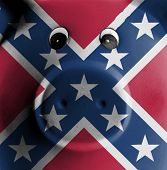 pic of confederation  - Ceramic piggy bank with painting of a flag Confederate flag - JPG