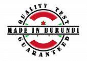 picture of burundi  - Quality test guaranteed stamp with a national flag inside Burundi - JPG